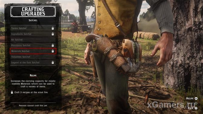 Upgrade bags for materials in the game RDR 2