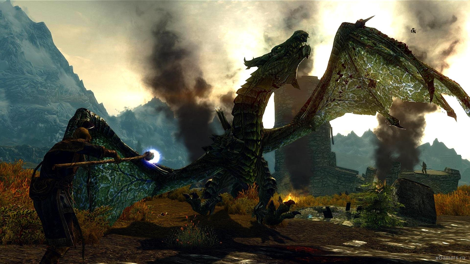 Skyrim fight with dragons in Game
