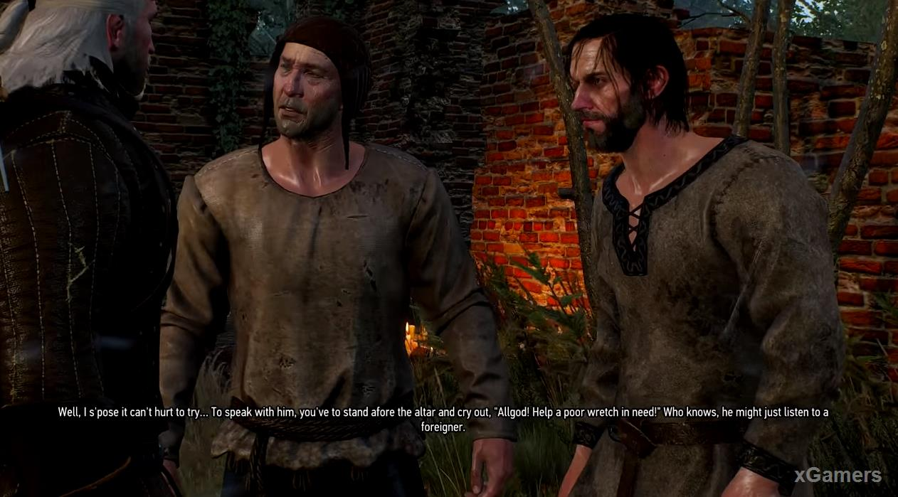 Geralt trying to understand the situation in dialog with Preben and Dagmar