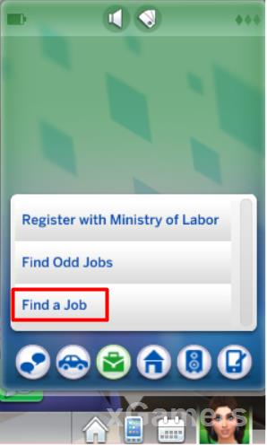 Find j job with phone - Sims 4 Business Career