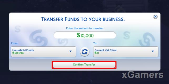 Transfer Funds to your Business: input value and press: Confirm Transfer