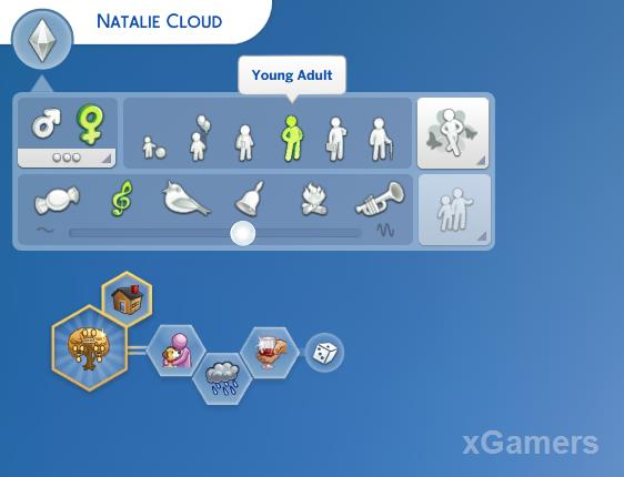 Create a SIM her life goals of the character and traits of his character