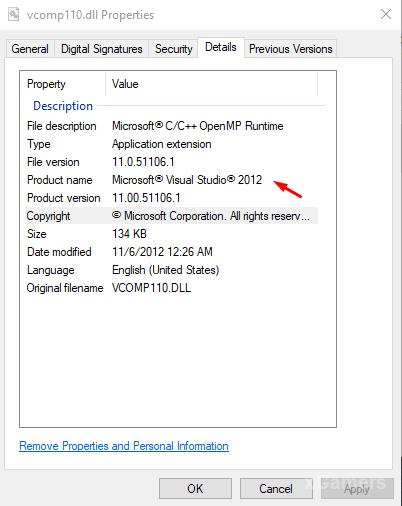Details Vcomp110.dll - this dll in package Visual Studio 2012