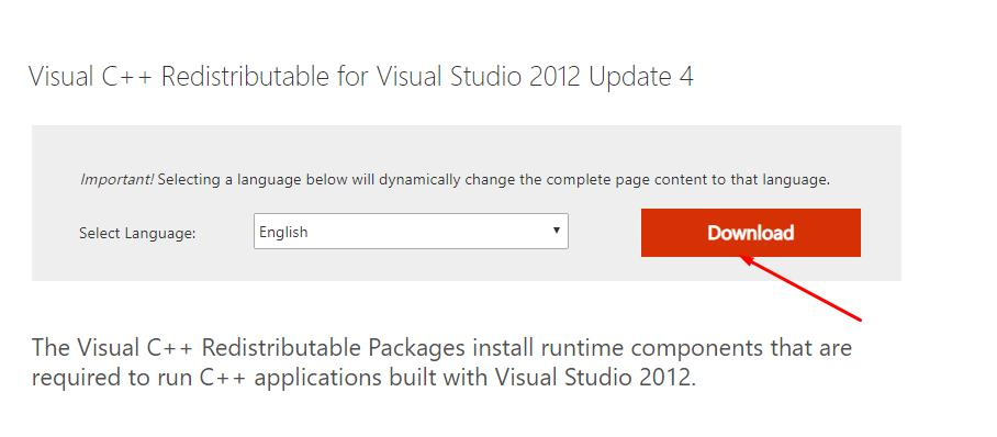 Download Visual C++ Redistributable for Visual Studio 2012