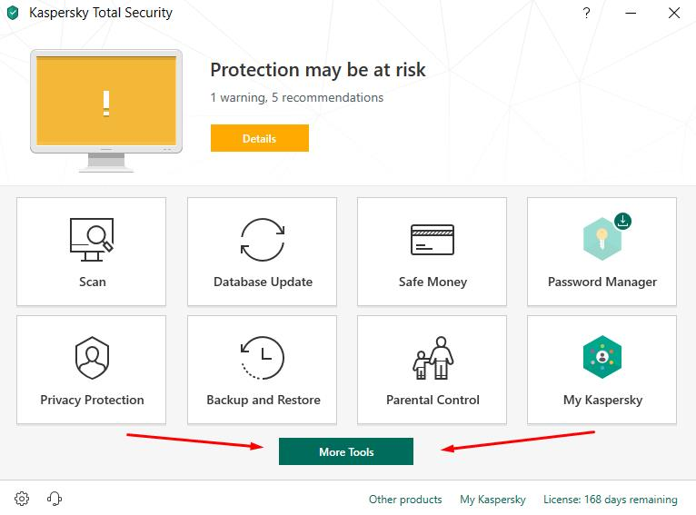 Kaspersky Total Security - click MOre Tools button