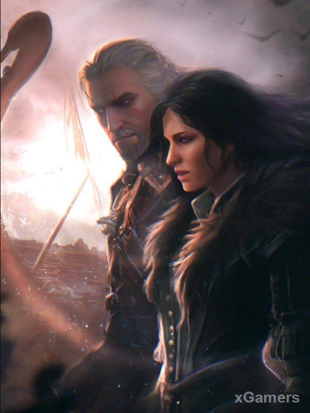 Geralt and Jennifer. Yennifer uses Geralt in the quest (last wish)