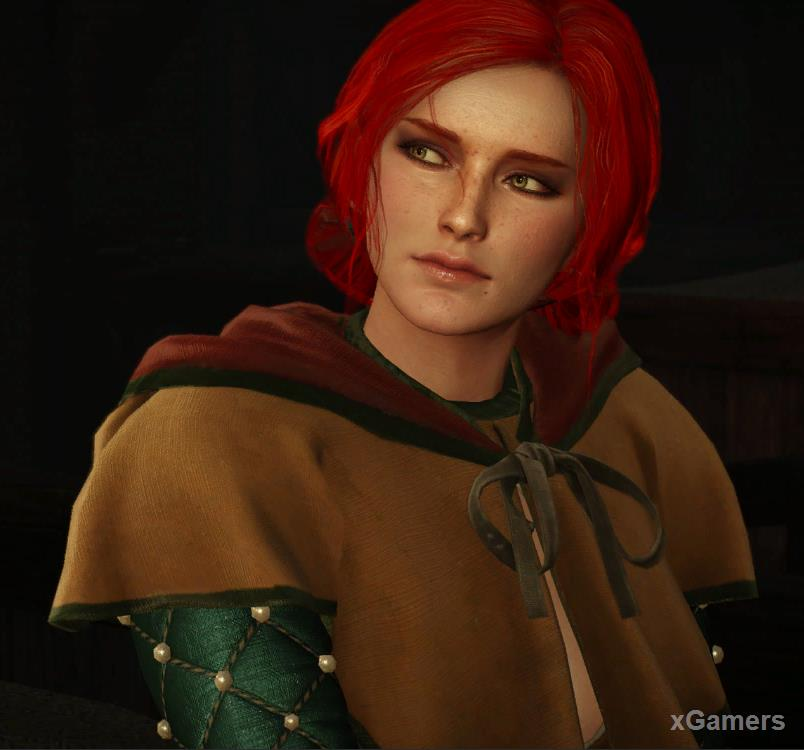 Hostory Triss Merigold - with brown hair, laughing at everything, looking like a girl.