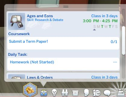 Coursework, daily task you SIM in the Sims 4
