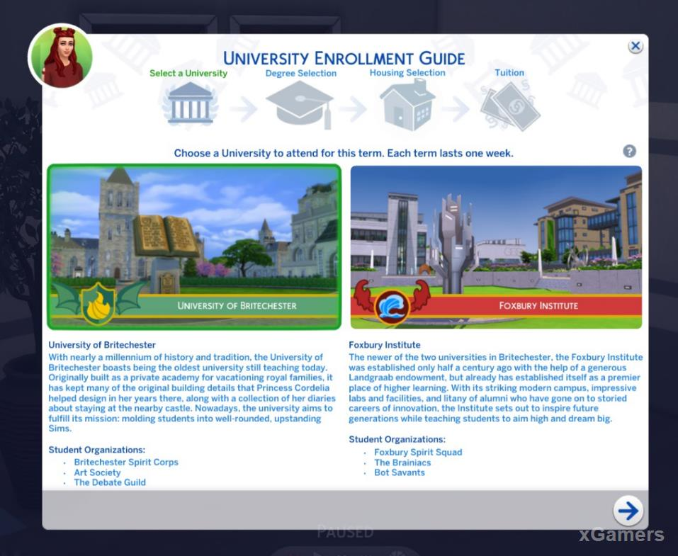 Select the University and specialty that you want to train your character in the entry settings menu