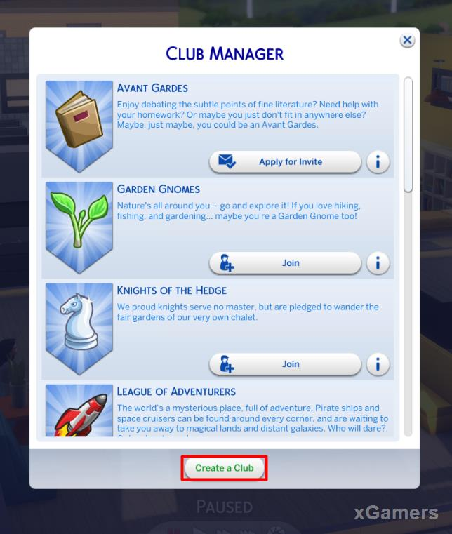 You can Create a Club in Club Manager Window