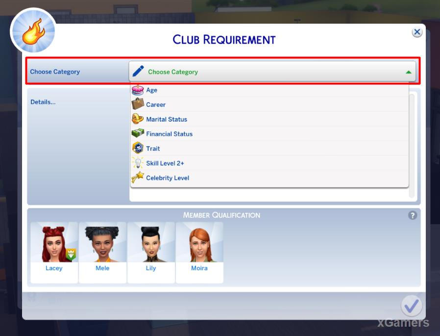 Select Club Requirement - to set rules of the club