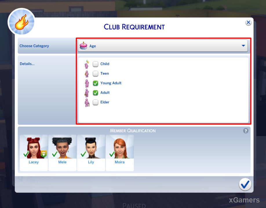 Select the allowed age of people to enter the group
