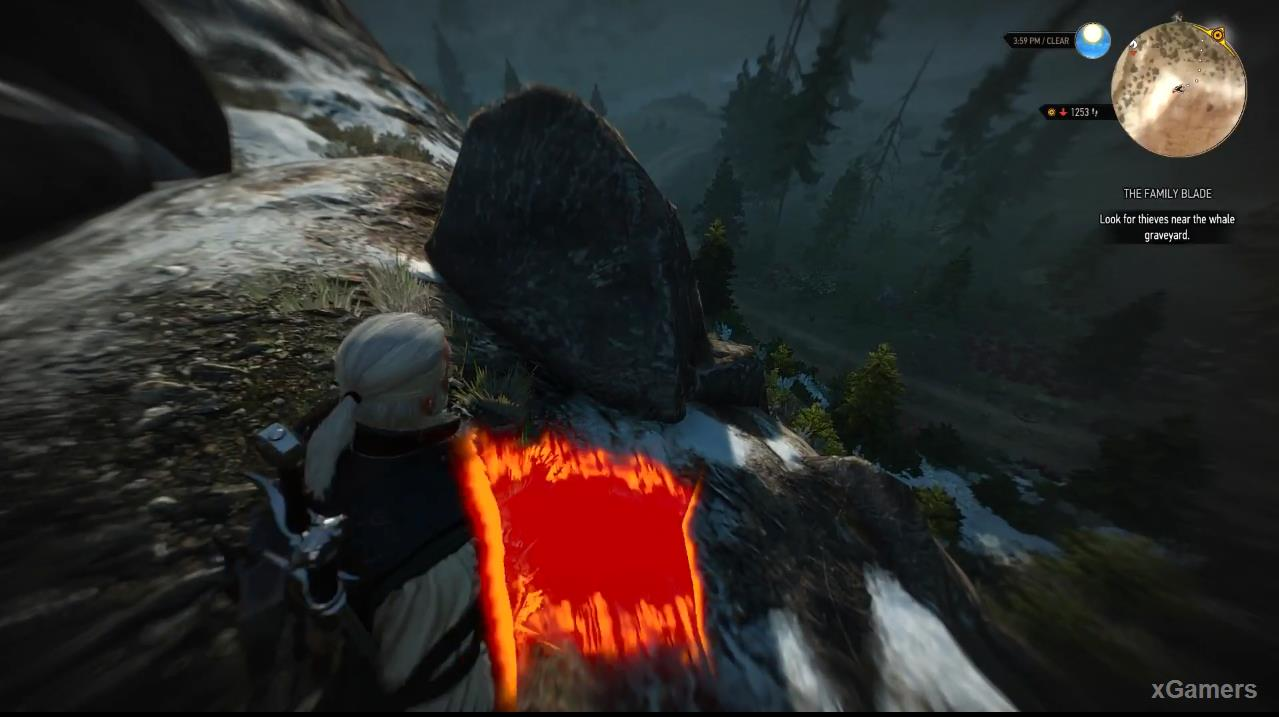 Next to the marks left by the boulder, Geralt will find traces of Nekker