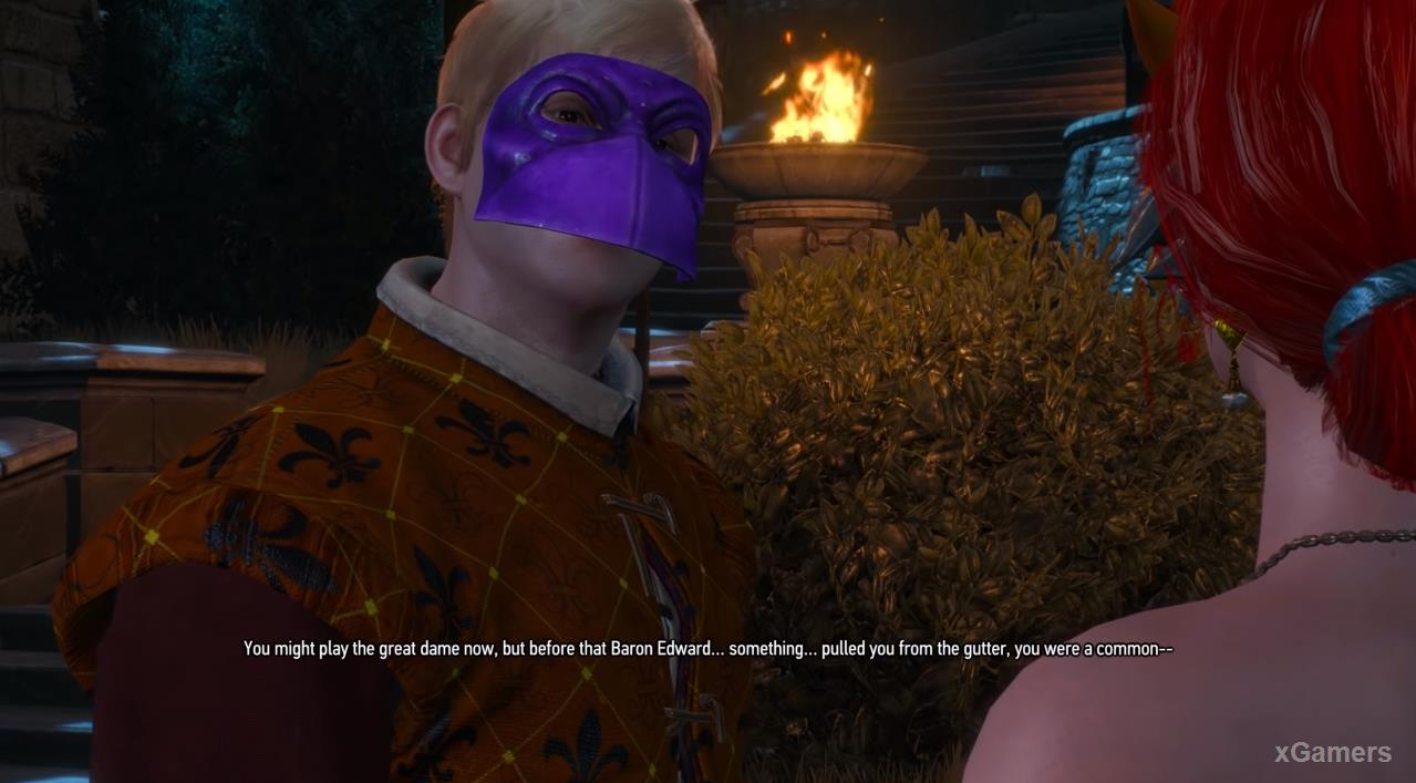 Triss will be accosted by a tipsy man with insults and inappropriate jokes