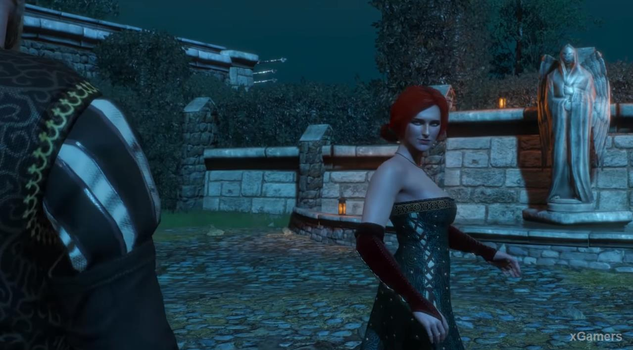 Drunk with booze and romantic atmosphere, Triss will want to demonstrate a sense of balance
