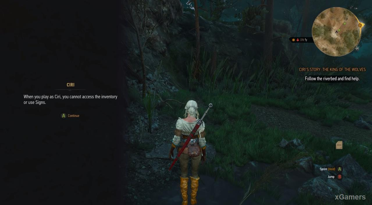 Ciri discovers a pack of wolves drove a little girl into a tree.