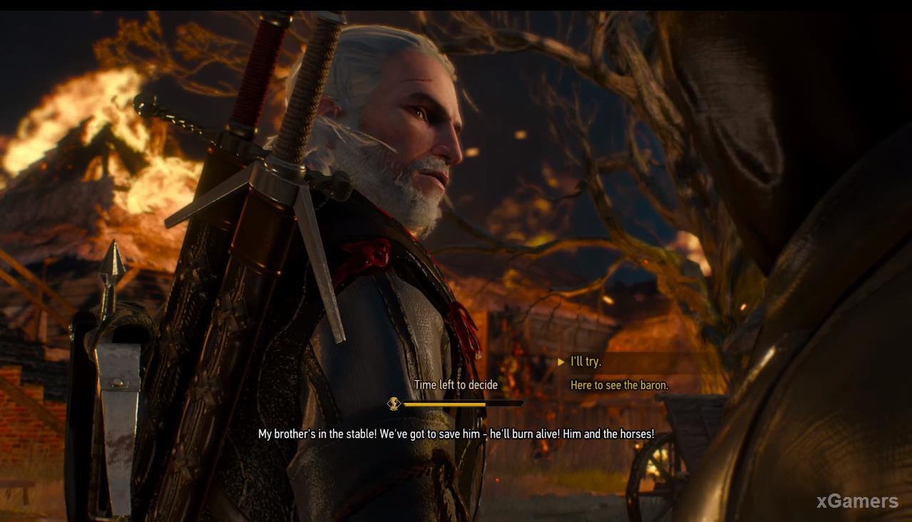 Once again arriving in Crow s Perch., Geralt becomes a witness to the conflagration