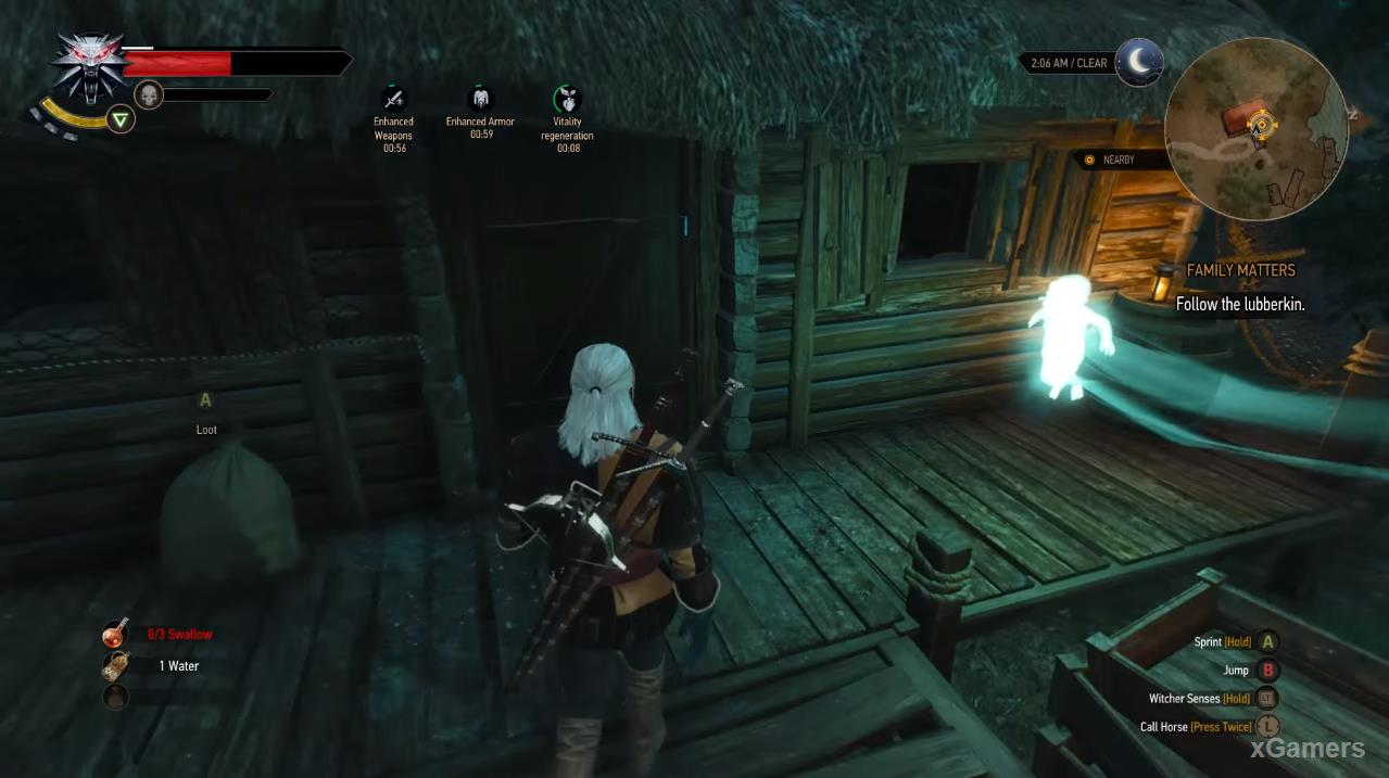Arriving at the fisherman s house, Geralt learns the last missing pieces of history