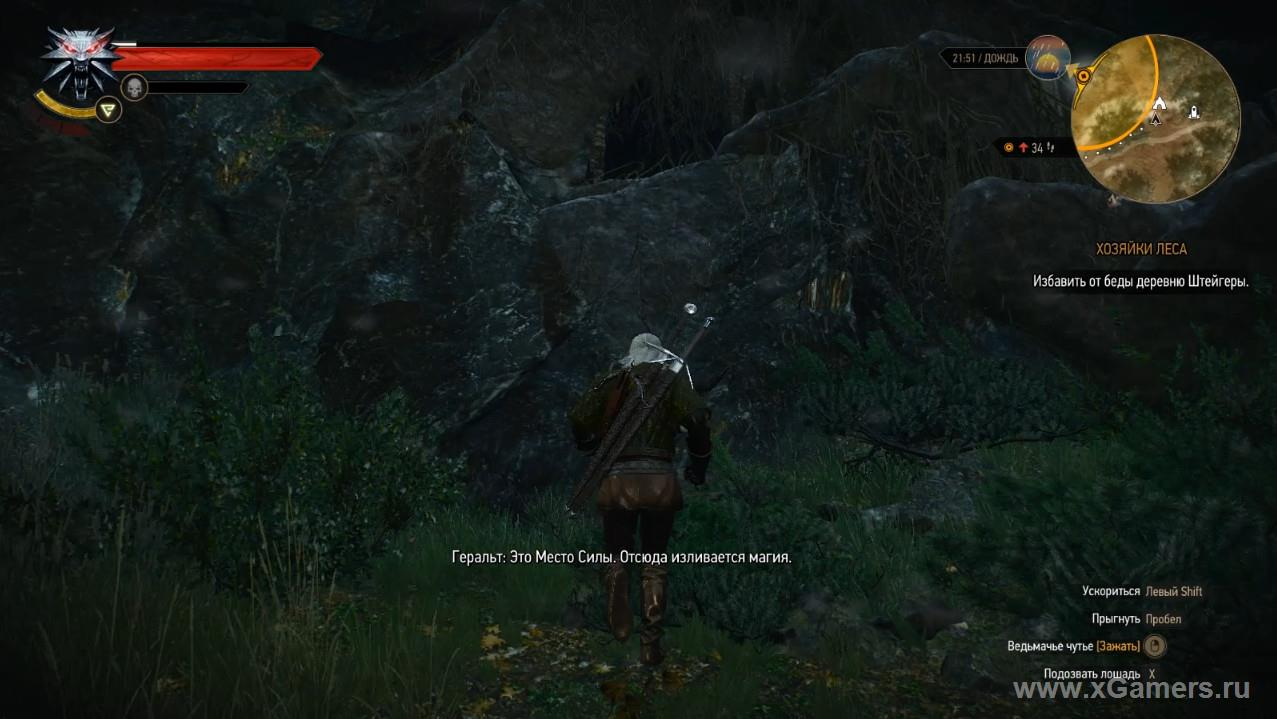 Witcher 3 (Ladies of the Wood) - where the entrance to the cave