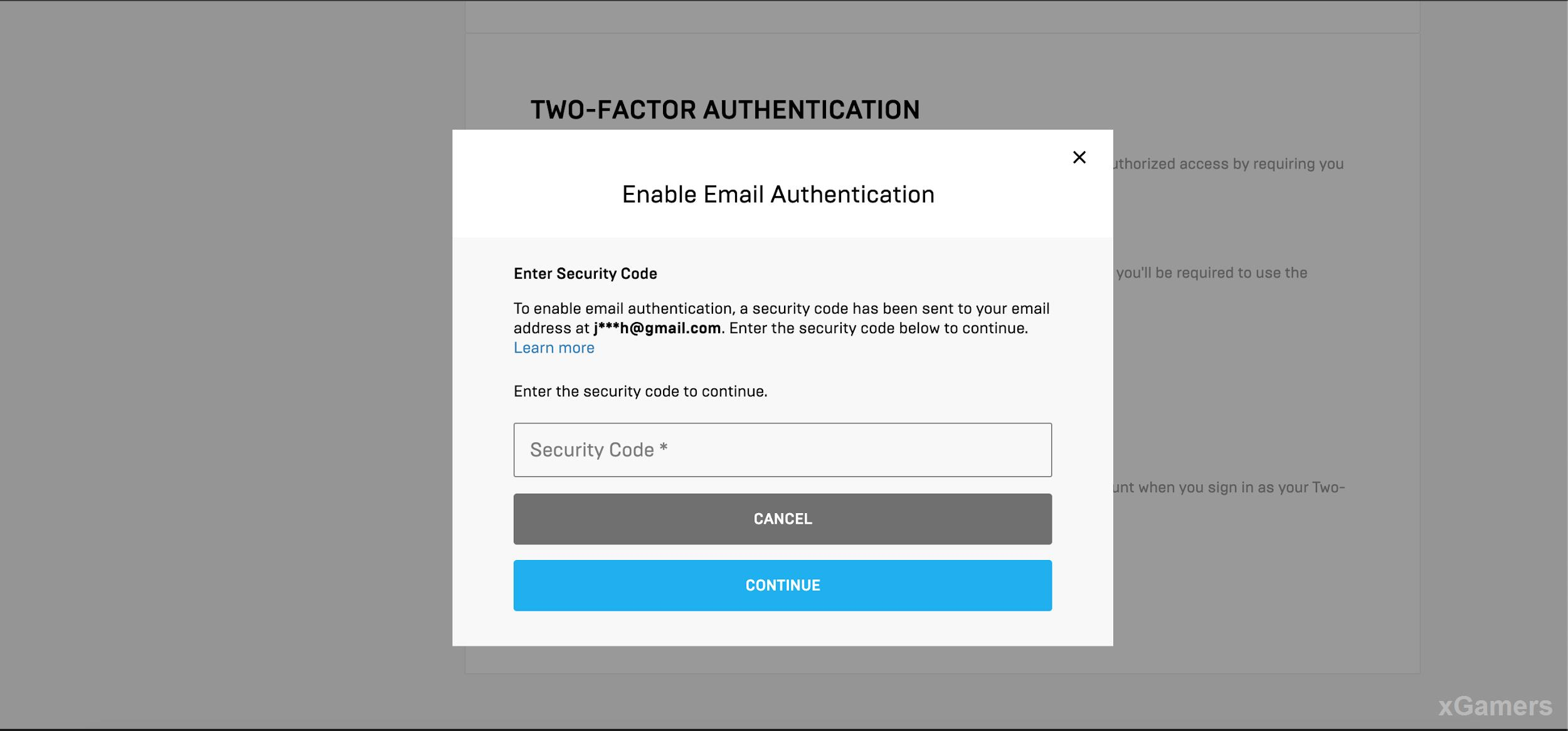 Email Authentication (2FA) Method