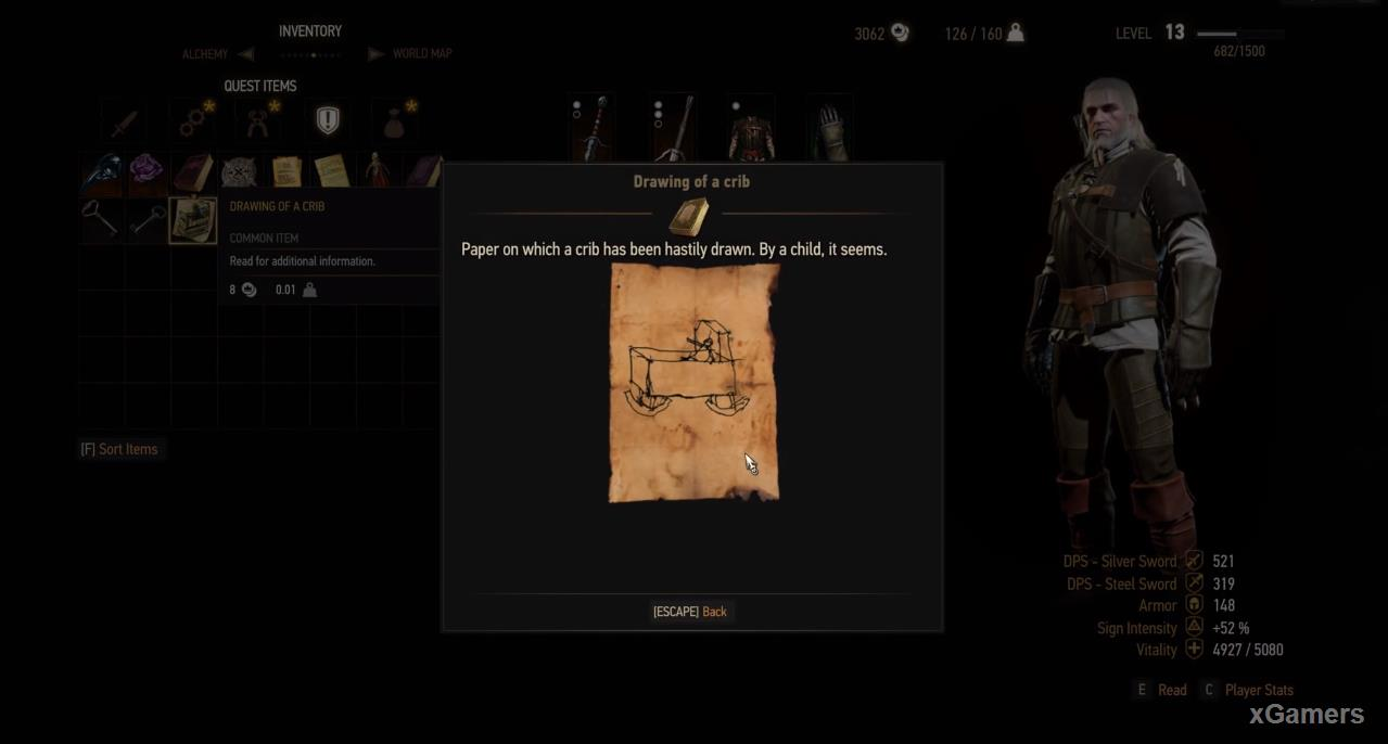 When Geralt reaches the attic, he discovers the doll and the drawing of the cradle, which is beginning to clarify the situation.