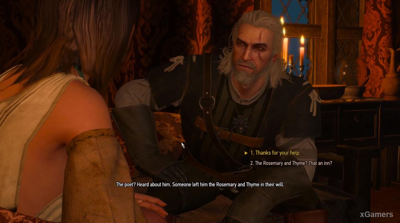 Corinne (after waking the Witcher) will tell that she does not know the bard personally