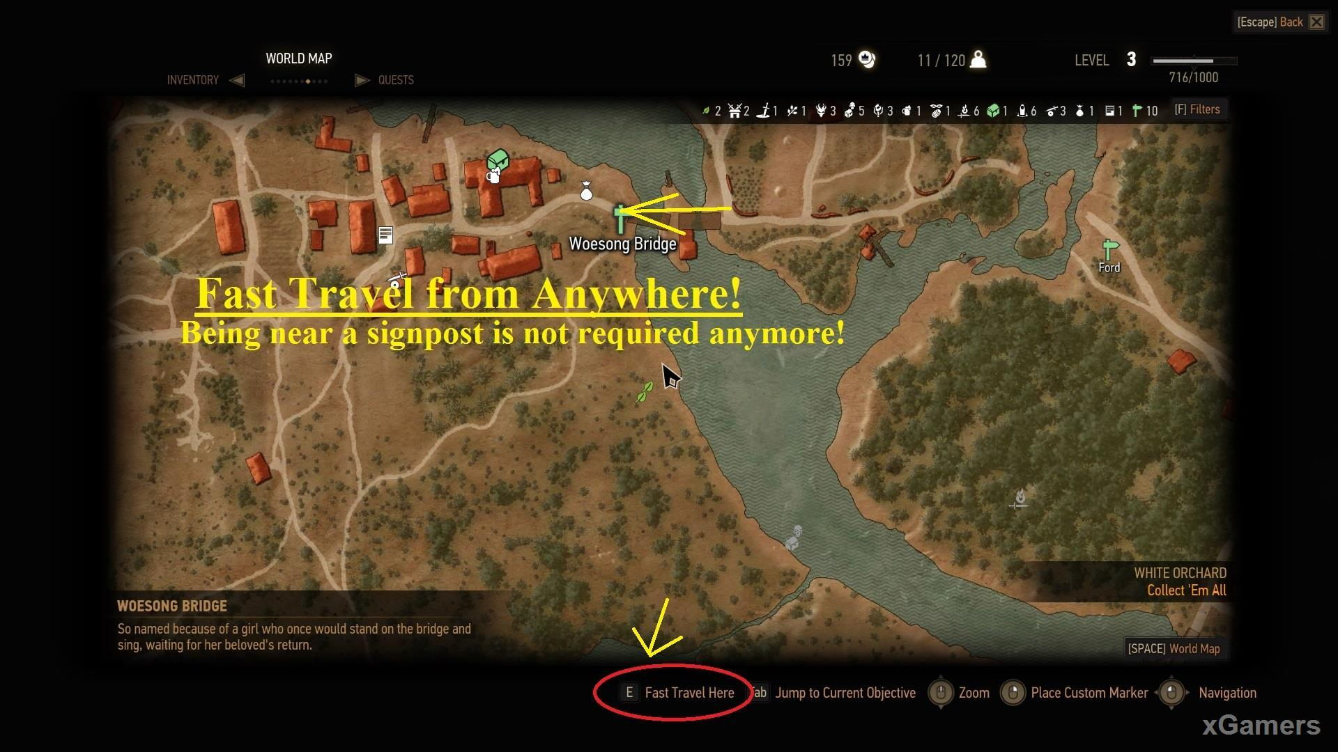 Mod: Fast Travel from Anywhere in The Witcher 3
