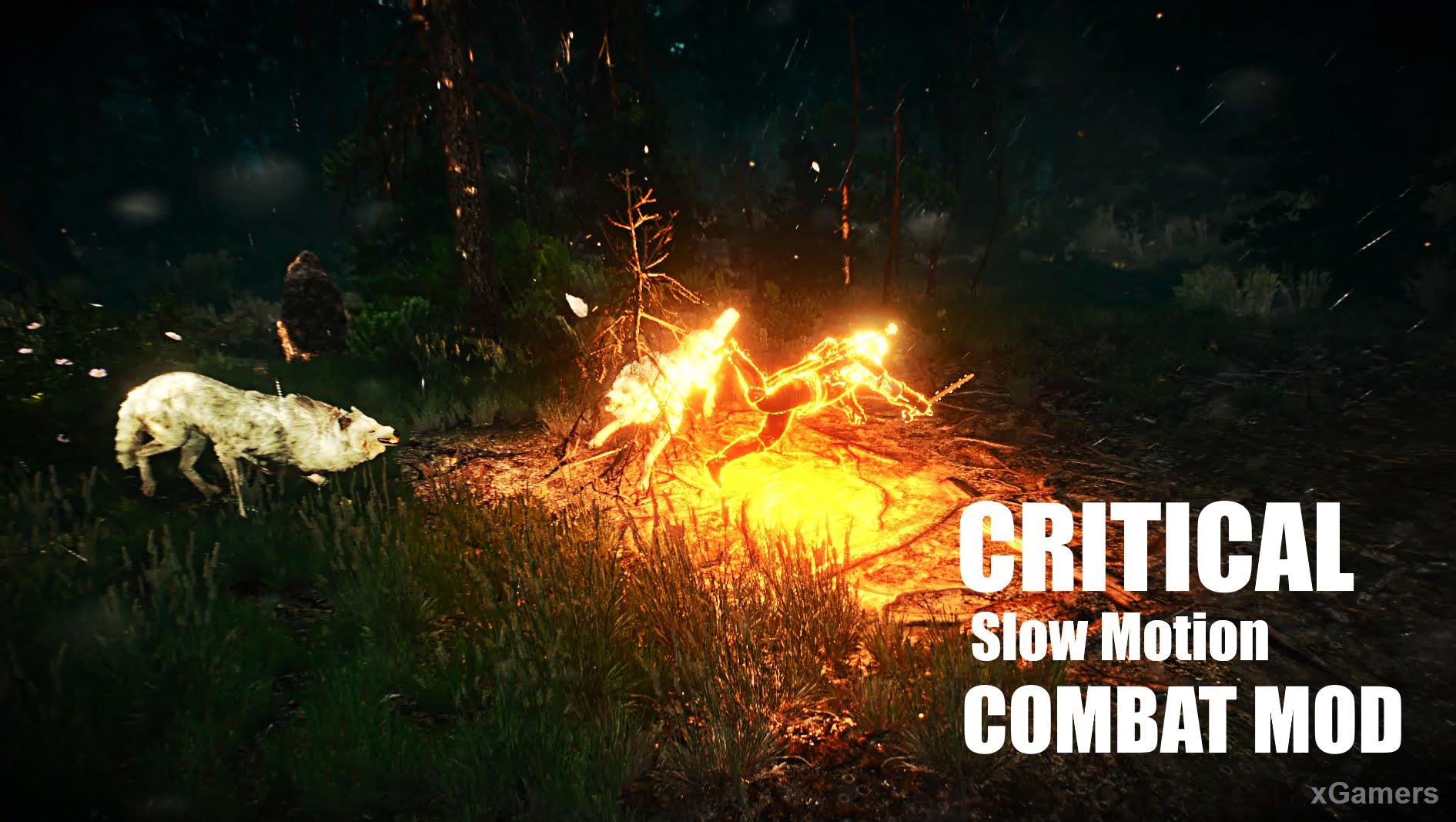 Critical slow motion combat mod in The Witcher 3