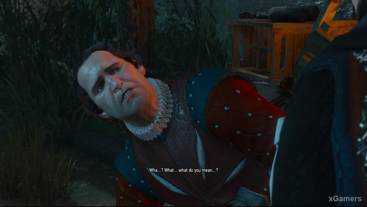 After receiving a fatal wound, Roderick will answer several questions from the Witcher