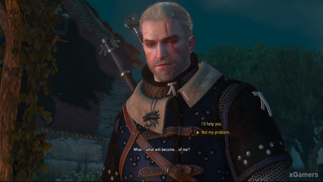 Geralt can spare Roderick by giving him still help, or leave his