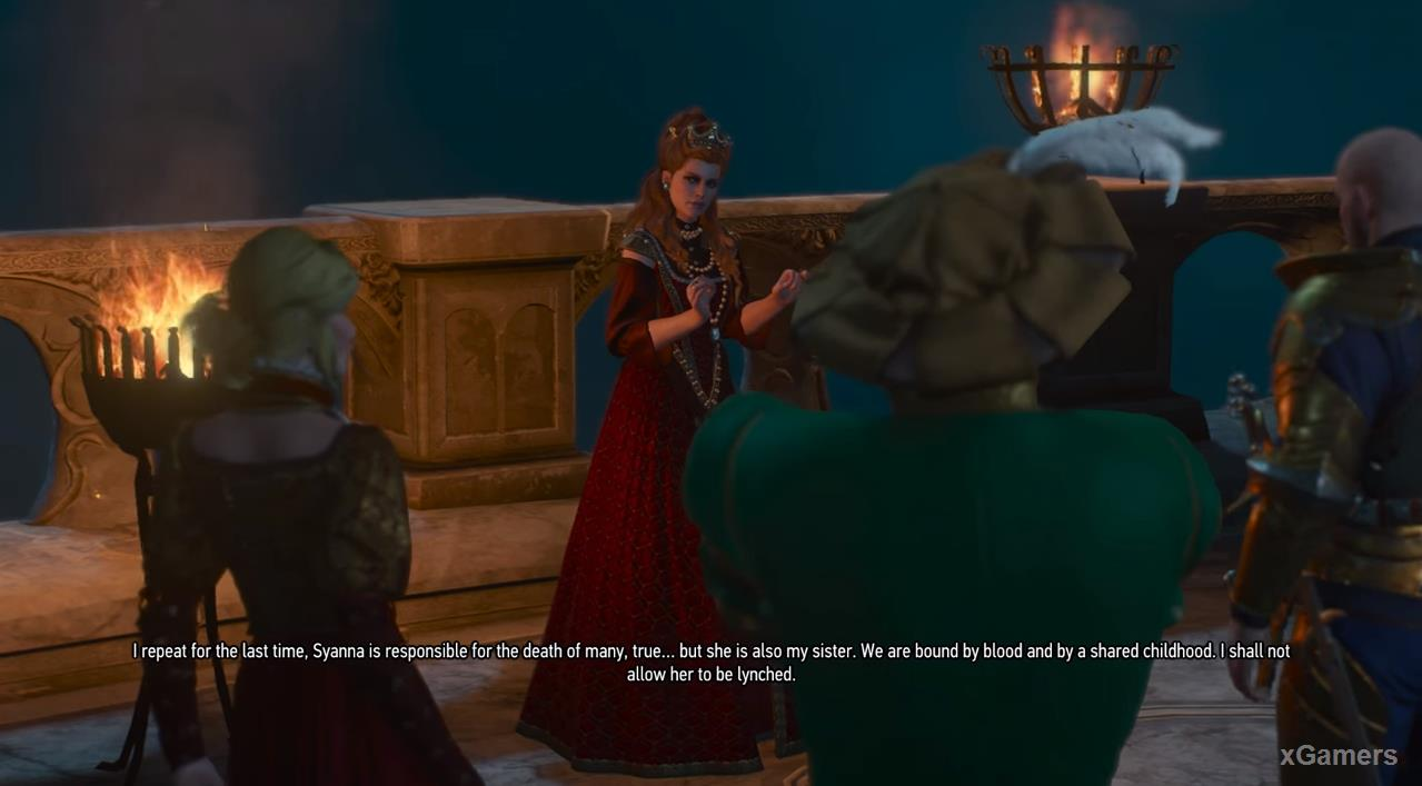 Anna Henrietta will not accept the truth and orders the Witcher to finish what he started by killing Detlaff.