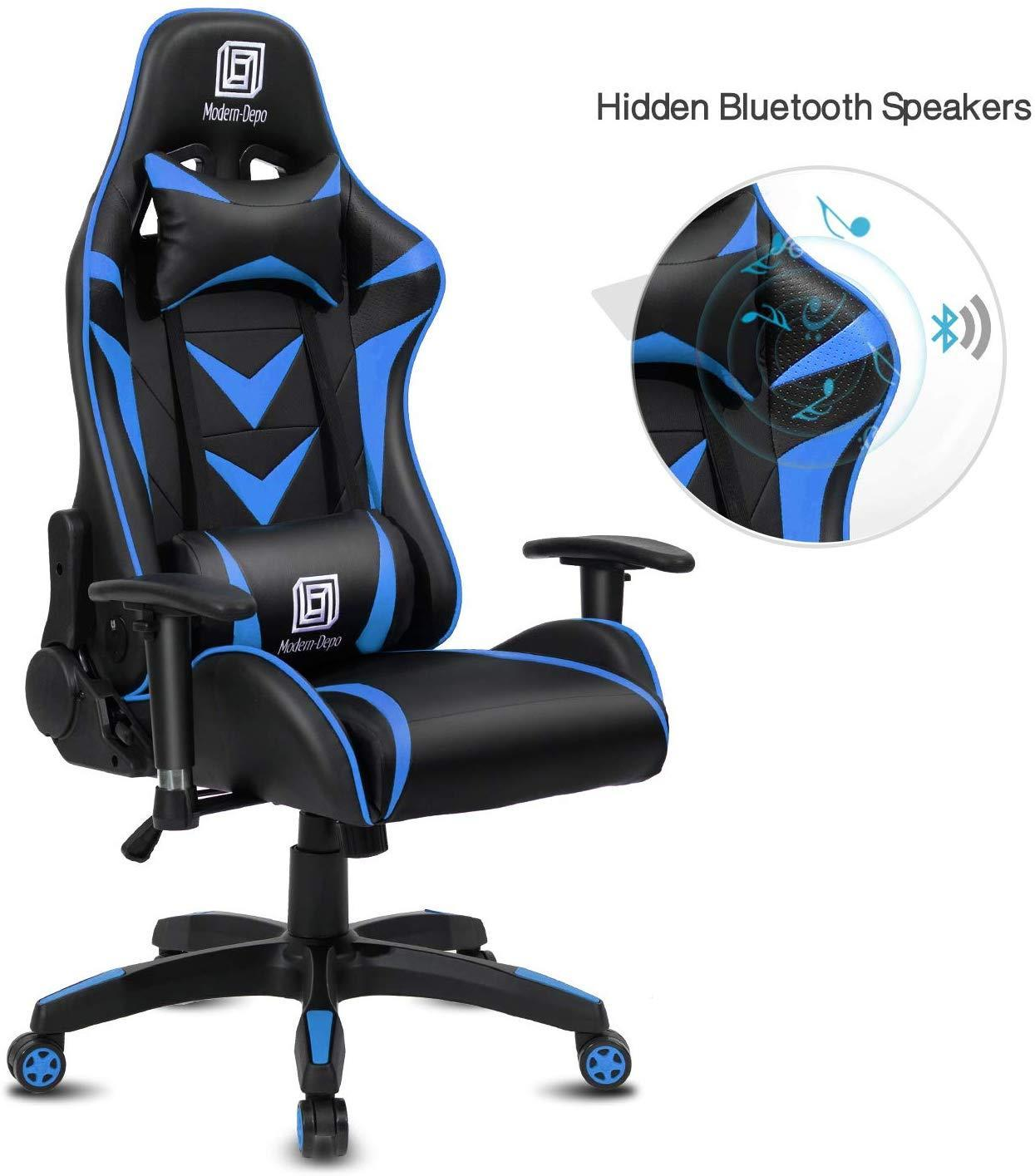 Modern-Depo High-Back Swivel Gaming Chair Recliner with Bluetooth