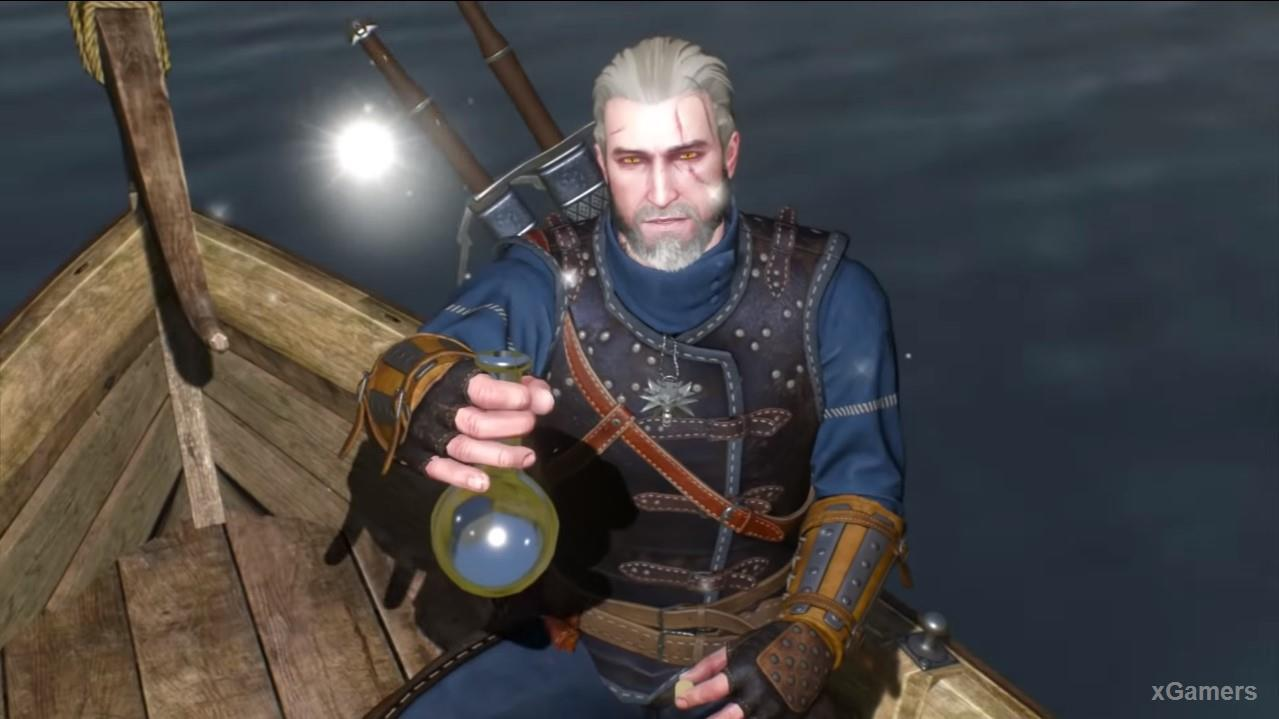 Geralt will release a Firefly/light, which will point the way to the Islands of Mists