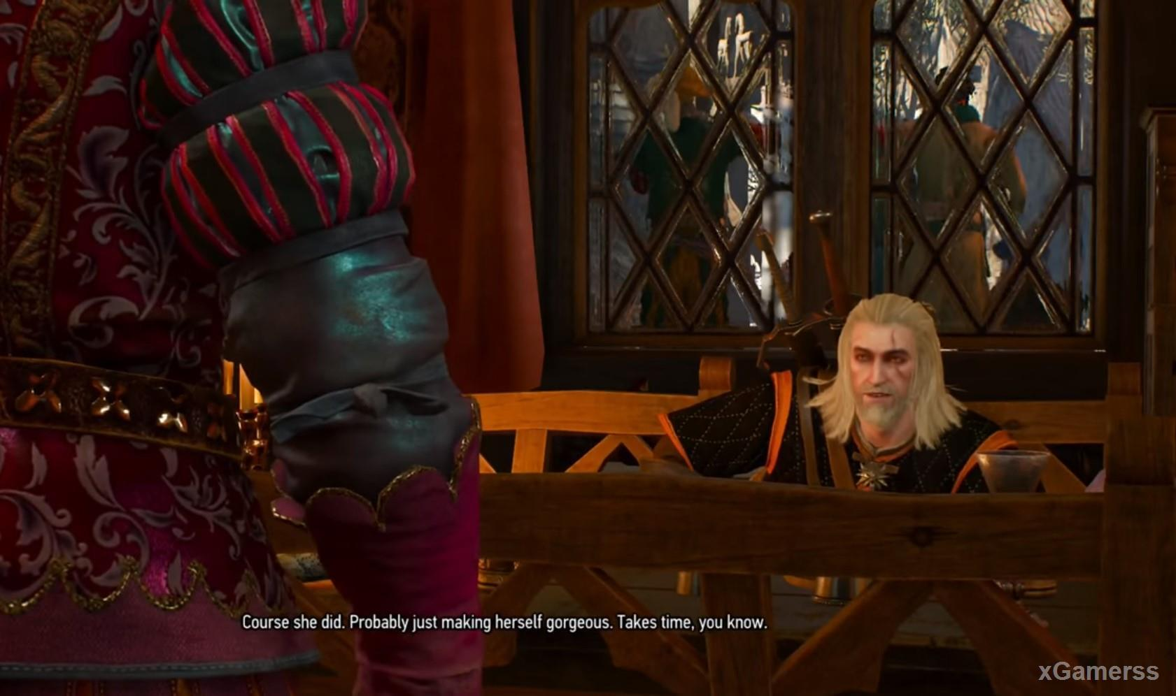 Old-good friends Dandelion and Geralt want drink