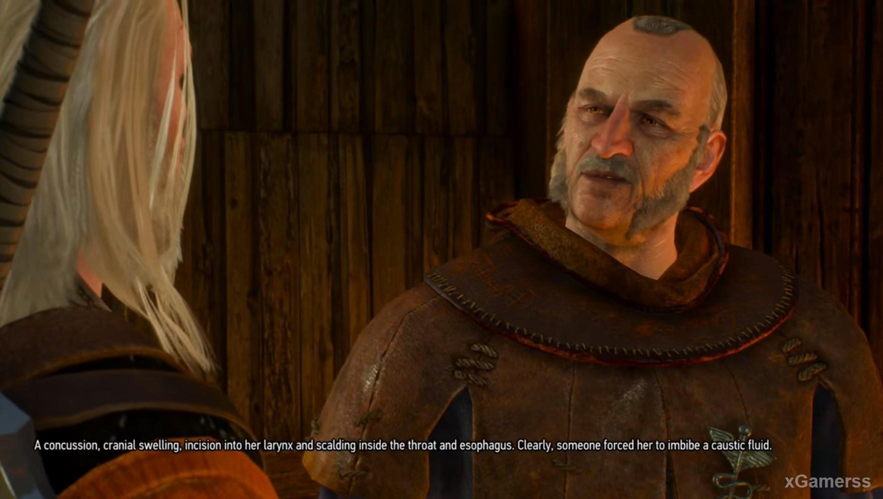 Joachim suggests that Geralt to examine the body of the previous victim