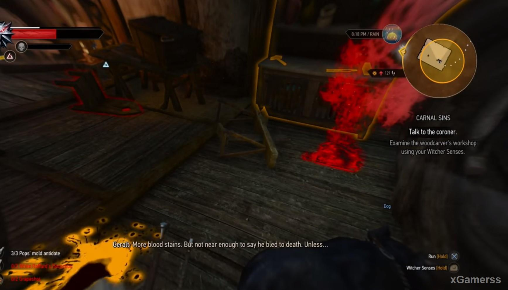 Traces of blood leading Geralt to the workshop