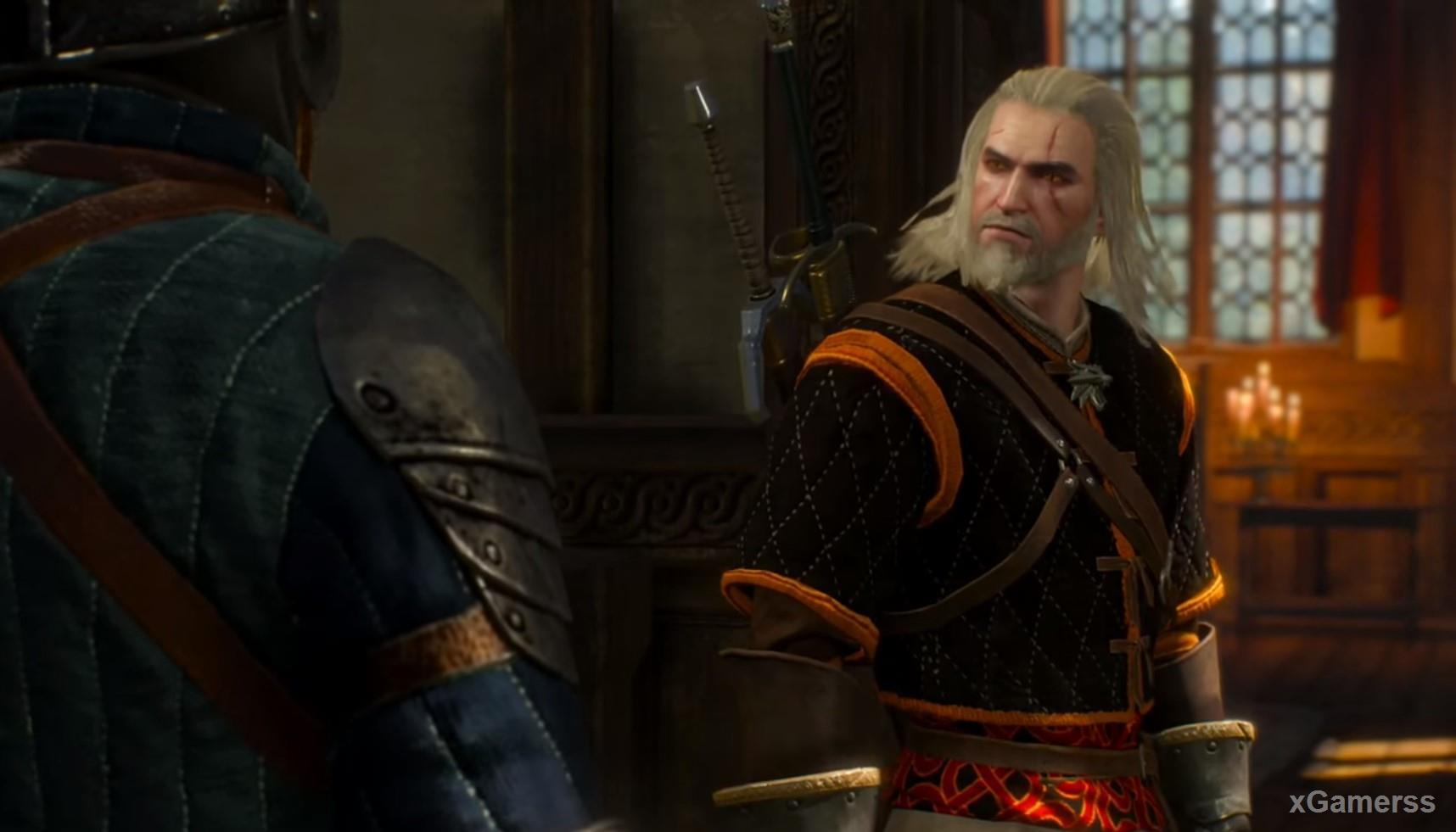 In the midst of the chase, Geralt will be stopped the guards, because will take the fleeing Geralt for the killer