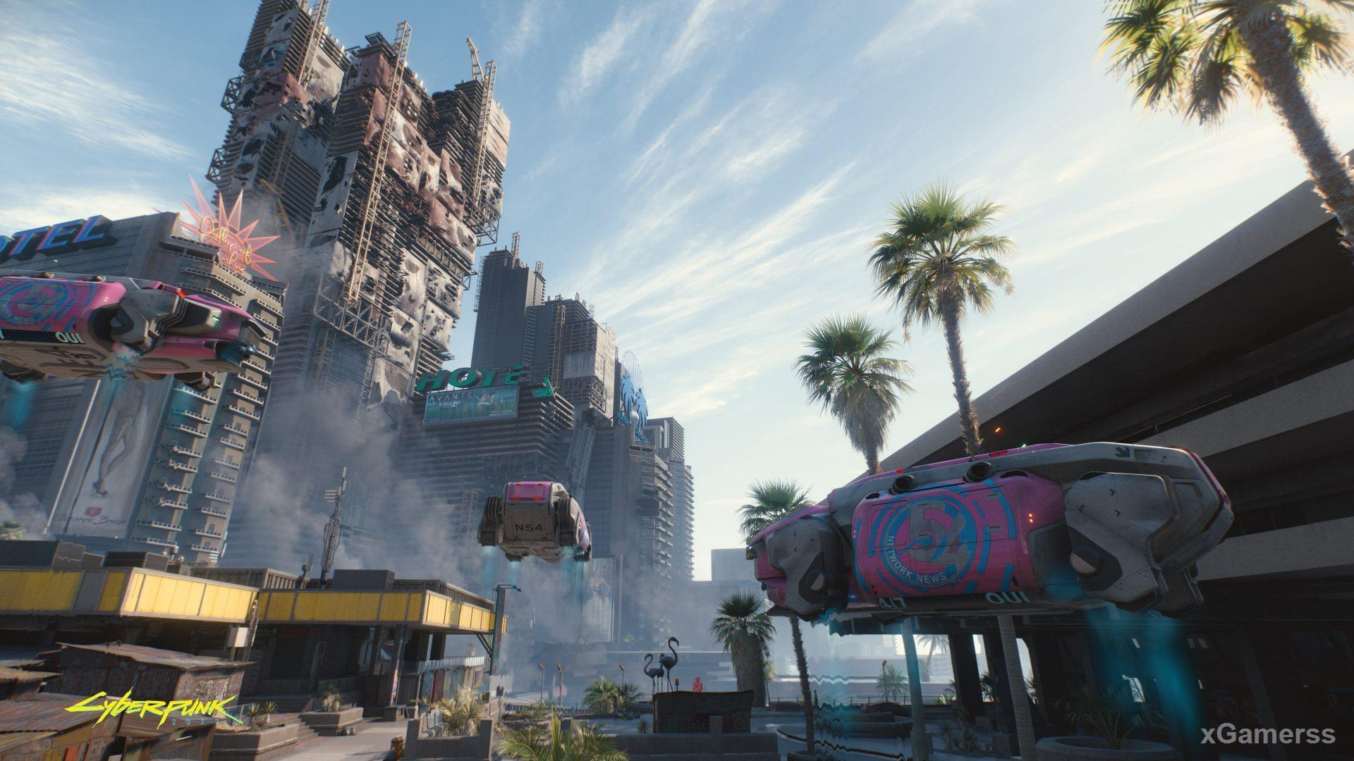 The city of Night City, where the events of Cyberpunk 2077 will unfold