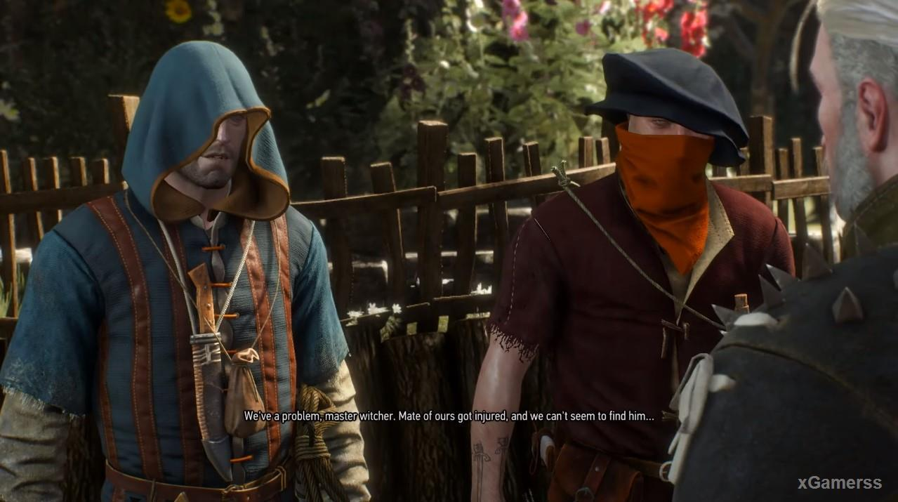 Geralt is talking with two bandits