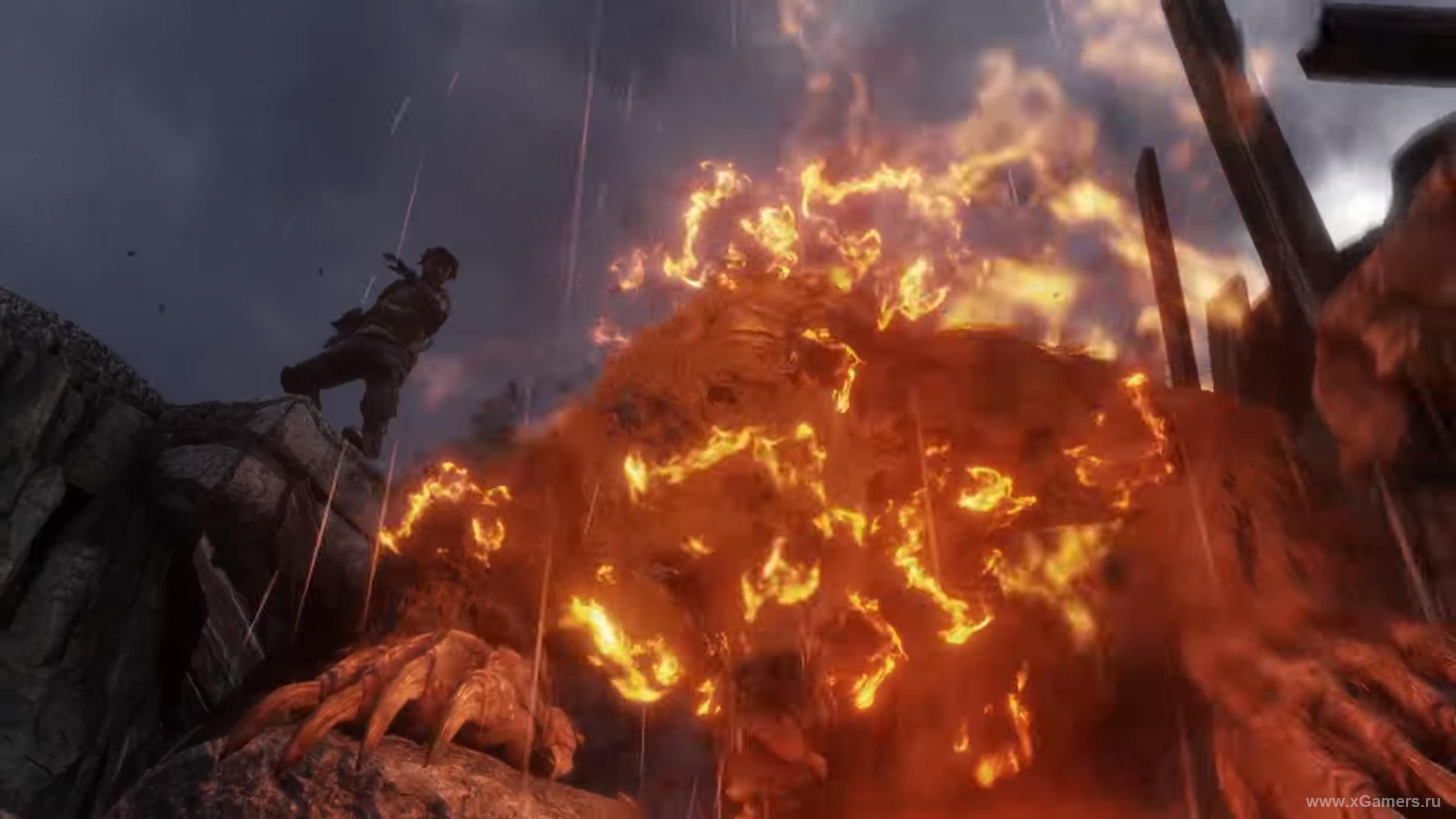 Meeting with a flaming monster in the game Metro Exodus