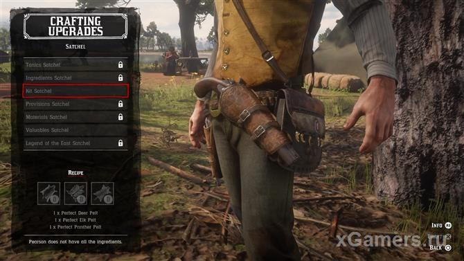 Upgrade bags for tools or equipment in the game RDR 2